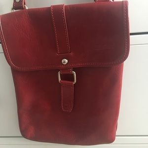 Red leather satchel Purse